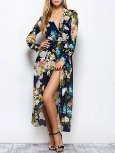 70fdc7cafc Long Sleeve Floral Maxi Dress with Slit