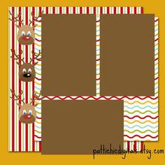 Reindeer Christmas Digital Premade Scrapbook Page 12x12
