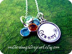 Hand Stamped Sterling Silver w/birthstones by MotherDaughterJewel, $36.00
