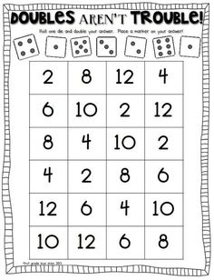 double trouble: math game to practice doubles facts - Mathe Ideen 2020 Math Doubles, Doubles Facts, Doubles Song, 1st Grade Math, First Grade, Grade 1, Second Grade, Math Stations, Math Centers