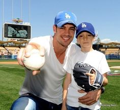 William Levy throws out the first pitch at Dodger Stadium after Viva Los Dodgers!