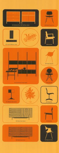 Vintage graphics promote #Eames and other Herman Miller products by @hermanmiller