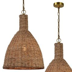 Rattan Light Fixture, Rattan Pendant Light, Light Fixtures, Farmhouse Style Decorating, Farmhouse Decor, Floating House, Antique Farmhouse, Vintage Industrial, Bulb