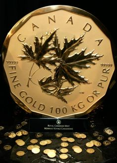 The Million Dollar Coin. There's the loonie. And there's the toonie. But did you know that there's a $1 million gold coin? It was introduced in 2007. The coin weighs 100 kg and is .99999 per cent pure. The face value is $1 million, but the street value of the jumbo coin is closer to $5 million these days.