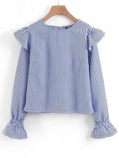 Long Sleeve Ruffles Striped Blouse - Stripe S Beautiful Blouses, Beautiful Outfits, College Girl Fashion, Hijab Fashion, Fashion Outfits, Casual Dresses, Casual Outfits, Dress Design Sketches, Kurta Designs