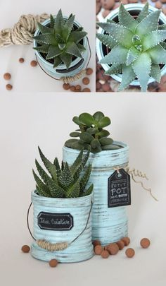DIY und Selbermachen Put together tin cans in flower pots # tin cans # flower pots Article P Tin Can Crafts, Metal Crafts, Diy And Crafts, Upcycled Crafts, Diy Flowers, Flower Pots, Vasos Vintage, Tin Can Art, Recycled Tin Cans