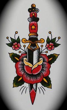 tattoo #traditional #dagger   FollowPics