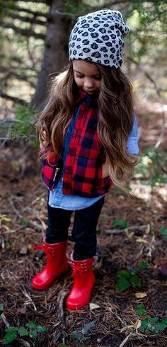 girls fall/winter fashion looks. plaid puffer vest + snow leopard beanie + winter boots look! Warm and fashionably perfect Fashion Kids, Toddler Fashion, Trendy Fashion, Fashion Clothes, Fashion Accessories, Women's Clothes, Fashion Trends, Clothes Sale, Trendy Accessories