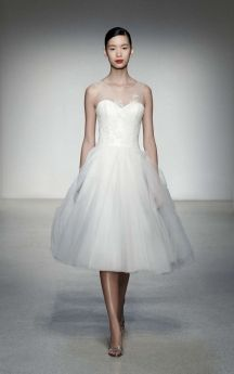 Strapless Short Tulle Bridal Dresses with Illusion Jewel Neck and Lace Bodice