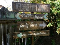 Wedding Directional Sign Wedding Yard Sign by OneCoopedChick