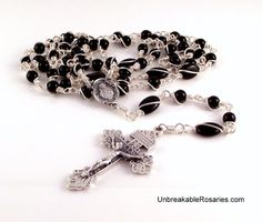 Sacred Heart of Jesus Rosary Beads For Men In Black Onyx www.UnbreakableRosaries.com