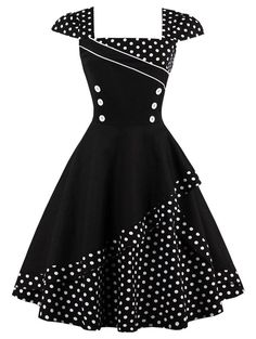 Buttoned Polka Dot Vintage Corset Dress - Black M Knee-Length A-Line Robes Vintage, Vintage Corset, Retro Vintage Dresses, Retro Dress, Vintage Outfits, Vintage Fashion, 1950s Dresses, 50s Vintage, Corset Dresses