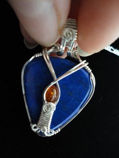 Lapis Lazuli sterling silver Baltic Amber wire by SamArtStudio