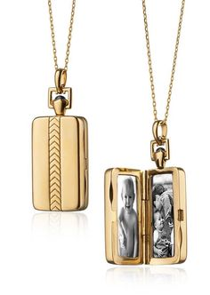 This engraved locket in a modern rectangular shape hangs on a delicate chain and is the perfect everyday piece to hold memories close to your heart | Monica Rich Kosann