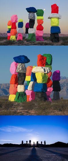 ugo rondinone erects seven magic mountains in the nevada desert