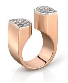 Jewels #clozeau Bague Manhattan Or rose 750°° et diamants