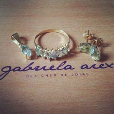 Conjunto em Ouro amarelo e água marinha! #ouro #joia #designerjoias #gabrielaaiex #anel #brinco #pingente #aguamarinha