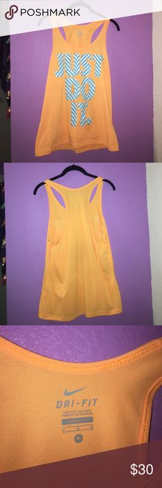 Nike workout Tank Top Brand-new Nike workout tank top size medium. Let me know if you have any questions or want me to do a try on! Honestly just trying to get rid of stuff in my closet make me an offer! :) comes from a smoke free and pet free home Nike Tops Tank Tops