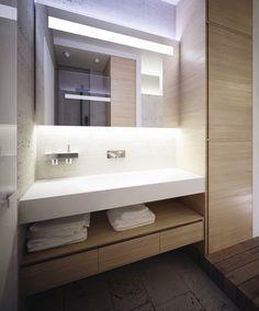 Adorable Modern Eclecticism Interior Designs: Sleek Bathroom Design Backlit Mirror Worldly Apartment In Kiev