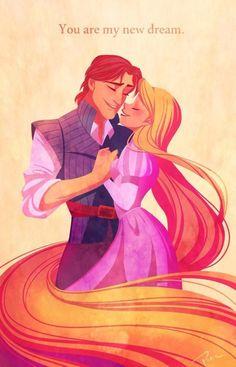 Rapunzel and Flynn Ryder tangled you were my new dream fan art illustration sketch painting design