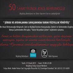 Ataol Behramoğlu'nun 50. sanat yılı kutlanıyor | İstanbul'da Sanat  Türk Edebiyatı'nın önemli şairlerinden Ataol Behramoğlu'nun, sanatının 50'inci sanat yılı, 31 Ocak Cumartesi saat 19.00'da Beşiktaş Belediyesi ve Tekin Yayınevi'nin ev sahipliğinde, Fulya Sanat'ta düzenlenecek etkinlikle kutlanacak.  Read more: http://istanbuldasanat.org/ataol-behramoglu-50-sanat-yili/