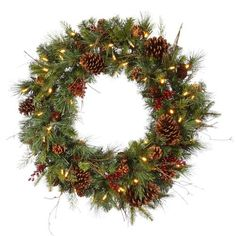 """36"""""""" Pre-lit Cibola Mix Berry Pine Artificial Christmas Wreath - Warm Clear LED Lights"""