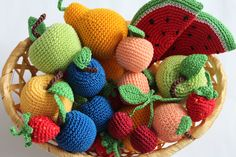 Crochet Fruits Set of 7 - apple pear plum apricot srawberry cherry slice of watermelon - play food eco-friendly toys pretend play (22.99 USD) by LanaHandmadeToys