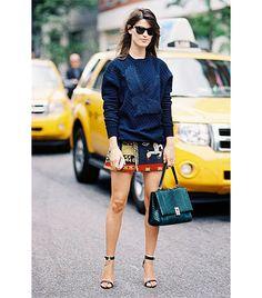 textured jumper, textured mini skirt, two strap heels