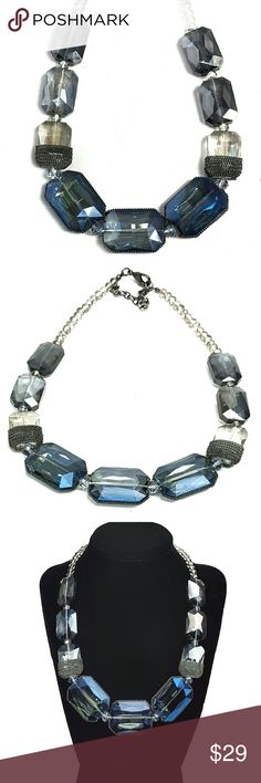"""Gunmetal Wrapped Statement Necklace Add some chic to your wardrobe with this gorgeous stone statement necklace.  Earthy tones with shades of blue glass . Gunmetal wrapped irridescent glass beads. Lobster clasp. Adjustable. New in box. 17"""" long with 3"""" extender. Pics don't do this justice! Gorgeous piece!  SAVE WITH BUNDLES!!! No PP, Merc, Trades or Holds please.  Thank you for visiting! Happy Poshing! Jewelry"""