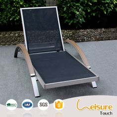 Modern outdoor pool furniture brushed aluminum arm sunbed lounge chair sun loungers