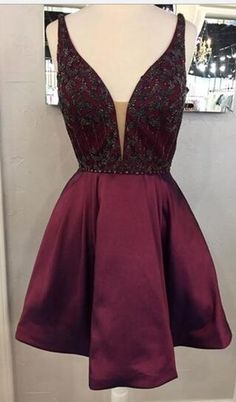 2017 short prom dress homecoming dress, short burgundy prom dress homecoming dress evening dress pinterest // @ninabubblygum