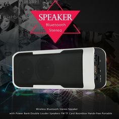 Wireless Bluetooth Stereo Speaker Super Bass Portable 4000mAh Power Bank Double Louder Speakers FM TF USB Hands-free for iphone