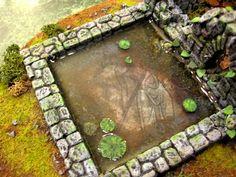 Fantasy Terrain, Terrain, Wood Elves, shallow man-made pond, lilies, tile art