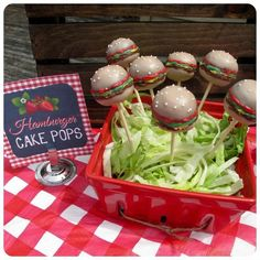Hamburger cake pops at a Berry Bash with So Many CUTE Ideas via Kara's Party Ideas | Kara'sPartyIdeas.com #SummerSoiree #PartyIdeas #Supplies #berrybash #strawberryparty #hamburgercakepops