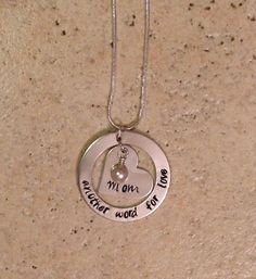 Mom Necklace / Hand Stamped / Heart / Another Word for Love by BrandedBlessings on Etsy