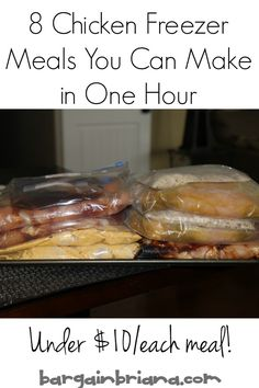 8 easy to assemble chicken meals for your freezer! You can make these dinners in one hour or less at $10 or less per serving! Great way to stock your freezer for summer.