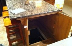 Kitchen Island Secret Passage | Hide your safe room or shelter entrance in the most unexpected place: right in the middle of your kitchen island #survivallife www.survivallife.com