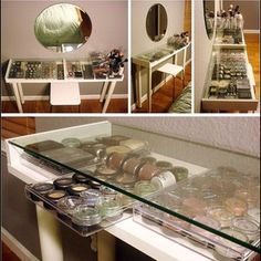 This vanity table displays your make-up collection while keeping it organized. | 31 Incredibly Creative Ways To Display All Your Stuff