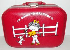 Vintage Red I'm going to Grandma's House Children's HARDSIDE SUITCASE Adorable!