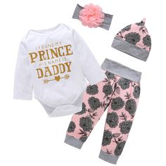 Shorts I Found My Prince Daddy Short-sleeve Romper Leg Warmer And Headband Se
