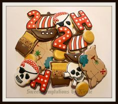 pirate cookies; I like the style of the numbers, especially, and the gold-painted gold