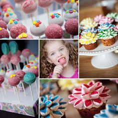 I made these! Well, not the cute little girl enjoying a cake pop (Cory made her) but I made the pops & cupcakes; Nate made the cake pop stand (and I affixed the pretty pink paisley ribbon). My first professional photos of my baked goods. Thanks, BFF! ;)