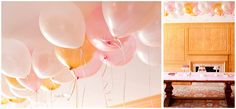 two dozen pink, pearl and gold balloons over dessert table {Annie's Eats}