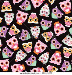 Seamless retro kids owl illustration background pattern in vector