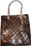 Women's Michael Kors Purse Handbag Jet Set Item North/South Tote Signature Logo Mirror Metallic Cocoa