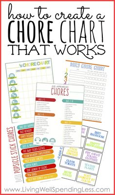 Don't miss these four simple steps you can take right now to create a chore chart that works. This in-depth post even includes four different types of printable chore charts, plus a helpful list of age-appropriate chores! Printable Chore Chart, Chore Chart Kids, Family Chore Charts, Free Printables, Kids Chore List, Chore Chart By Age, Printable Star, Daily Chore List, Kids And Parenting