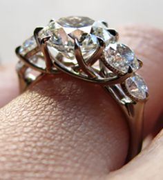 Yssie's Stunning 5-Stone 8-Prong Trellis Reset Ring (Side-Angle View) - image by Yssie