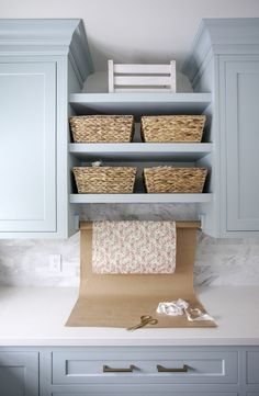 Jillian Harris Home Tour Series Laundry Room featuring Emtek cabinet hardware Laundry Room Decor Small Shelves, Small Storage, Diy Storage, Storage Ideas, Storage Shelves, Room Shelves, Open Shelving, Organization Ideas, Blue Laundry Rooms