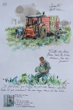 "Carantec is a commune in the Finistère département of Brittany in northwestern France. // sketch made by Yann Lesacher (watercolourist, portraitist, painter, caricaturist and bon vivant) // The project ""A Britain by the Contours"" is underway and will be completed when he will have paced the GR34 in full (approximately 2500 km ..). Yann has already completed more than 1,000 pages from regular walks and in all seasons."
