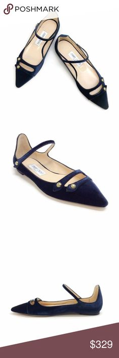 Jimmy Choo Layton Mary Jane Flats Navy Blue Velvet A modern take on the classic Mary Jane flat, Layton has a military inspired edge with the addition of press stud detailing on the straps of the upper. A strong pointy toe, and a navy blue velvet upper finish the look. Leather lined with a leather sole.  Original box and dust bag are included.  Due to the nature of velvet, these shoes may show markings in the nap of the fabric from packaging.  Please note, as with most shoes made in Italy…